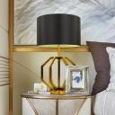 1 Bulb Bedroom Desk Light Modernism Black Task Lighting with Cylinder Fabric Shade