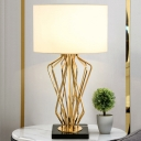 Contemporary 1 Head Task Lighting White Tubular Night Table Lamp with Fabric Shade