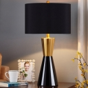 Cylinder Nightstand Lamp Modernism Fabric 1 Bulb Black Reading Book Light, 14