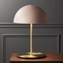1 Head Study Task Lighting Modernist Pink Nightstand Lamp with Bowl Metal Shade