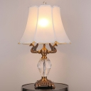 2 Heads Droplet Desk Light Modern Beveled Crystal Table Lamp in White with Metal Bird
