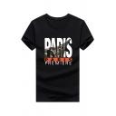 Cool Boys' Short Sleeve Crew Neck Letter PARIS Printed Slim Fit T Shirt