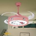 Nordic Kids Drum 4 Blades Fan Lighting Metallic Bedroom LED Semi Flush Light Fixture in Pink, 47