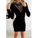 Black Fancy Long Sleeve Mock Neck Glitter Panel Chevron Striped Mini Tight Dress for Party Girls