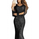 Designer Boutique Women's Long Sleeve V-Neck Tassel Sequins Maxi Plain Sheath Evening Dress