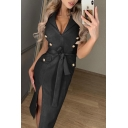 Chic Amazing Ladies' Solid Color Sleeveless V-Neck Button Detail Bow Tie Waist Slit Side Mid Column Dress