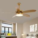Beige Drum Ceiling Fan Lamp Modern Wood Bedroom LED Semi Flush Light Fixture with 5 Blades, 52