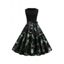 Formal Ladies Sleeveless Round Neck Bow Tied Waist Floral Pattern Maxi Pleated Swing Dress
