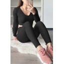 Stylish Girls Plain Long Sleeve Scoop Neck Knitted Fit Cropped Hoodie with Skinny Pants
