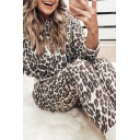 Apricot Edgy Looks Long Sleeve Drawstring Leopard Print Fit Crop Hoodie with Skinny Sweatpants