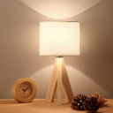 Modern Cylinder Task Light Fabric 1 Bulb Night Table Lamp in White with Wood Tripod