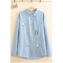 Girls Preppy Looks Long Sleeve Lapel Collar Button Down Cat Mouse Embroidery Stripe Print Long Relaxed Shirt
