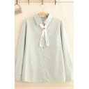 Fashionable Long Sleeve Lapel Neck Letter OPTIMIST Cartoon Embroidery Button Front Tied Loose Fit Shirt