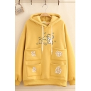 Yellow Cute Long Sleeve Drawstring Mouse Cheese Printed Patched Pockets Loose Fit Hoodie for Women