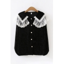 Cute Designer Girls' Long Sleeve Peter Pan Collar Button Down Lace Trim Pleuche Relaxed Fit Shirt
