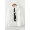 Preppy Girls' Long Sleeve Peter Pan Collar Button Down Floral Embroidered Loose Fit White Shirt with Tie