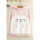 Popular Lovely Girls' Pink Long Sleeve Rabbit Patterned Panel Letter HI Oversize Ears Hoodie
