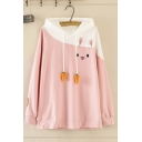 Student Girls' Lovely Long Sleeve Carrot Drawstring Rabbit Pattern Oversize Color Block Hoodie