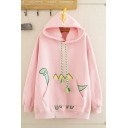 Lovely Girls' Long Sleeve Dinosaur Printed Drawstring Kangaroo Pocket Loose Fit Hoodie