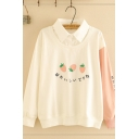 Fashion Women's Long Sleeve Lapel Collar Japanese Letter Strawberry Embroidery Colorblock Fake Two-Piece Sweatshirt