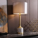 Drum Table Light Modernist Fabric 1 Bulb Small Desk Lamp in Grey with Marble Base