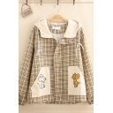 Korean Girls Long Sleeve Hooded Zipper Front Plaid Pattern Mouse Printed Patchwork Relaxed Relaxed Jacket