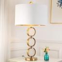 Circular Metal Desk Light Modern 1 Bulb Gold Nightstand Lamp with White Fabric Shade