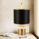 Contemporary 1 Bulb Nightstand Lamp Black Cylindrical Task Lighting with Fabric Shade