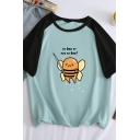 Funny Letter TO BEE OR NOT TO BEE Graphic Short Sleeve Round Neck Colorblocked Tee for Ladies
