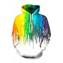 White Fashionable Long Sleeve Rainbow Pouring 3D Patterned Relaxed Hoodie with Pocket