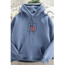 Korean Girls Long Sleeve Drawstring Carrot Printed Relaxed Fit Hoodie with Pocket