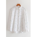 Simple Trendy Ladies Long Sleeve Lapel Collar Button Down All-Over Cactus Embroidery Oversize Shirt in White