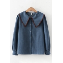 Fancy Girls Long Sleeve Peter Pan Collar Button Down Embroidered Relaxed Fit Shirt