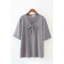 Popular Womens Short Sleeve Round Neck Bow Tie Solid Color Relaxed T-Shirt