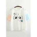 Lovely Girls Short Sleeve Round Neck Cute Cartoon Pattern Color Block Loose T Shirt