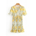Pretty Ladies Yellow Short Sleeve V-Neck All-Over Floral Patterned Ruffle Trimmed Midi Pleated Dress