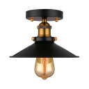 Industrial Antique Black Single Semi Flush Light with Railroad Shade for Farmhouse Kitchen Porch