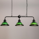 3 Light Green Finish LED Island Linear Kitchen Light with Glass Shade