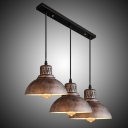 Industrial 3 Light Pendant Light Dome Shade Restoration Multi-Light Pendant For Bars