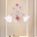 1/2 Bulbs Metal Sconce Fixture Pastoral White Flower Living Room Wall Mounted Lighting