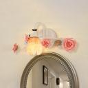 White 1-Light Sconce Wall Lighting Korean Garden Metal Rose and Leaf Wall Light Fixture for Bathroom