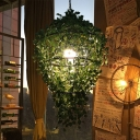 1-Bulb Metal Suspension Lighting Antique Black Geometric Restaurant LED Hanging Light Fixture with Plant Decoration