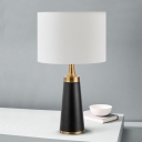 Modern Drum Desk Lamp Fabric 1 Head Task Lighting in White with Cone Black Metal Base