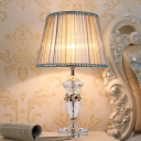 1 Head Urn Shape Table Light Contemporary Beveled Crystal Small Desk Lamp in Beige/Blue