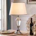Modernist Conical Desk Light Fabric 1 Head Night Table Lamp in White for Bedside