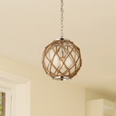 1 Head Rope Suspension Light Industrial Beige Global Bar Hanging Pendant Lamp with Clear Glass Shade