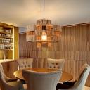 Rope Drum Frame Pendant Industrial 1-Head Restaurant Hanging Light Fixture in Beige