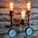 Vintage 2-Gauge Wall Mount Pipe Light 3 Bulbs Metallic Sconce Light in Copper for Corridor