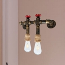 Iron Antique Brass Wall Lighting Pipe and Valve 2-Light Industrial Wall Sconce Lamp with Rope Top