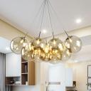 Bubble Amber Glass Hanging Lamp Kit Modernism 10-Head Chrome LED Multi Light Pendant